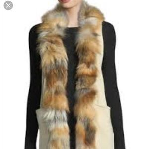 Cream Fur Trim Long Knit Vest